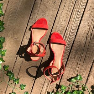 Madewell mid heel crimson colored sandals